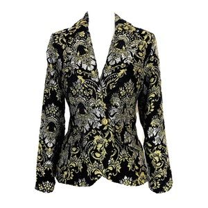Boston Proper Blazer Black gold Brocade Jacket